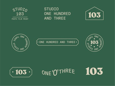 Studio 103 Brand Exploration branding one hundred 103 wordmark hand lettering printing press applications illustration badgedesign vintage badge printing studio typography lettering vintage identity exploration logomark