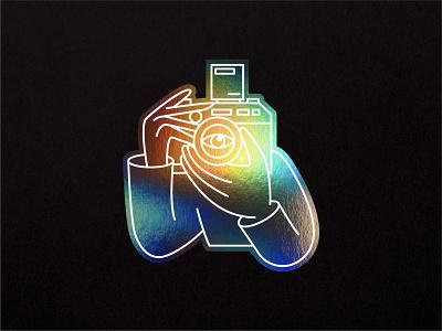Holographic camera boy branding logomark illustration 35mm contax camera holographic