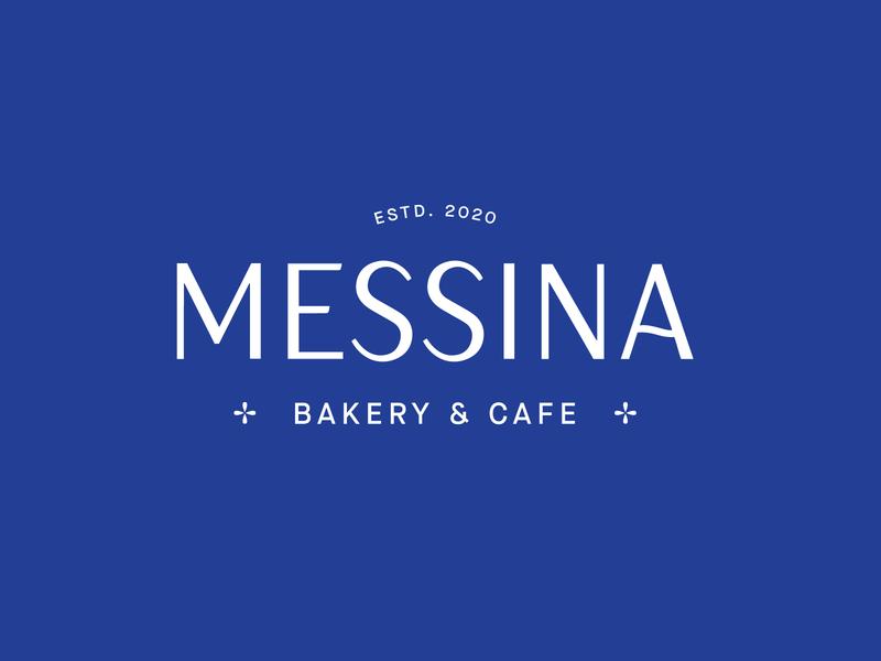Messina Bakery & Cafe Logo mediterranean blue typography type sicilan sicily italy italian clean minimal cafe bakery design brand branding logo messina