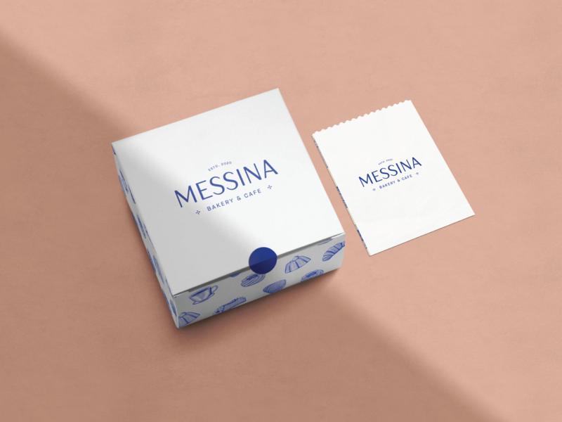 Messina Packaging Design clean minimal italian messina package bakery baked goods paper sleeve box design packaging