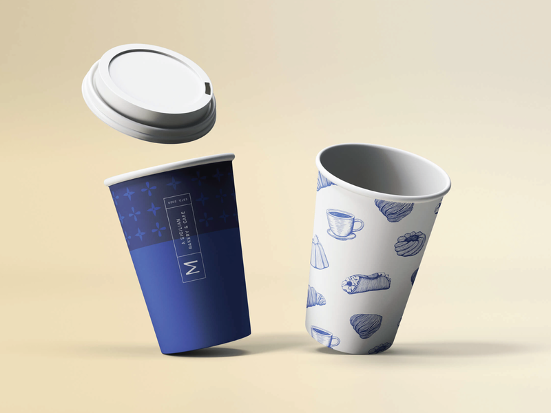 Coffee and tea to-go cups for Messina Bakery & Cafe packaging paper tea coffee togo branding cup cafe bakery