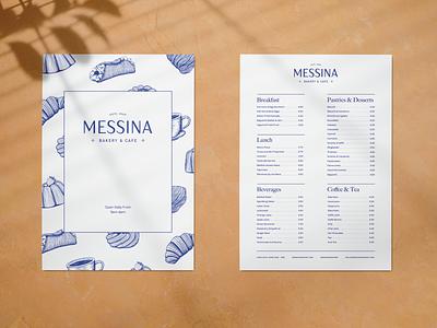 Messina Menu sicilian italian pastry tea coffee print design cafe bakery menu