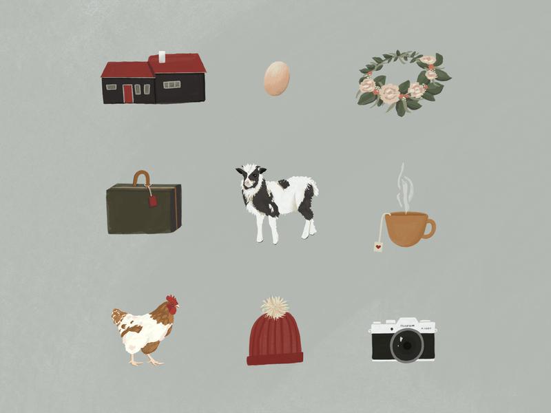 Faroe Islands digital illustration hat camera flower crown tea suitcase chicken sheep farm faroe islands ipadpro travel procreateapp illustration