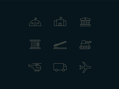 Iconography illustration lineart transportation airplane truck helicopter jail prison point of entry tank buildings government military icon iconography iconset icons