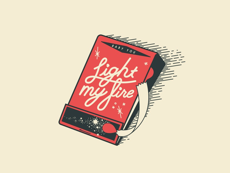 baby light my fire the doors line illustration sexy love sparks fire match matches rebound valentines day valentine
