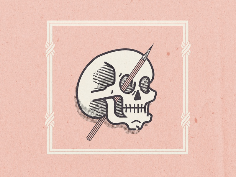 Deadeye Skull halftone pencil skull illustration