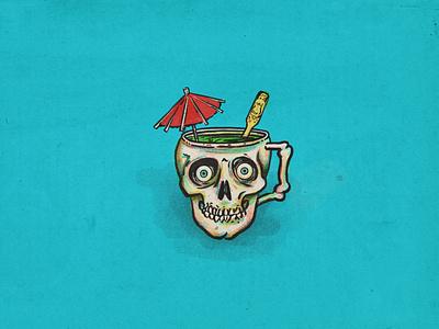 Drinking the kool aid umbrella skull tikicocktails brainwashed tikibar procreate drinkingthekoolaid drinking retrosupply halftone illustration
