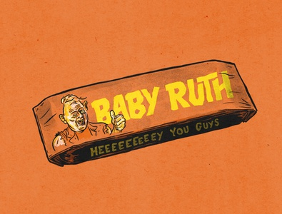 Baby Ruth retrosupplyco procreate sloth halloween candybar babyruth goonies illustration