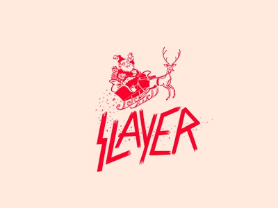 SLAYER metal simple reindeer slayer christmas santa illustration
