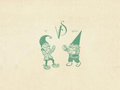 Elf vs Gnome xmas vs fight sketch christmas