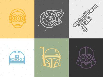 Star Wars Icons star wars han solo c3po r2d2 millenium falcon boba fett darth vader line art flat modren clean