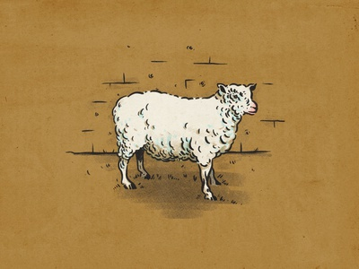 Sheep to the slaughter censorship all or none wakeup blind firingsquad sheep halftone illustration