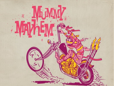Mummy Mayhem lettering cereal cereal box mascot saturday morning yummy mummy motorcycle mummy halloween halftone illustration
