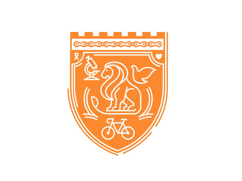 Obliteride chain heart illustration orange flat line bike cancer sience crest dove lion