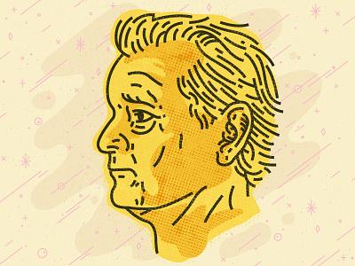Bill Murray yellow atomic age retro vintage halftone pattern bill murray line