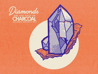 Diamonds modern retro mineral gem geology rock modern retro style line quote diamonds