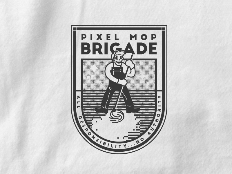 Pixle Mop Brigade type halftone illustration line complaining work badge skull mop pixel