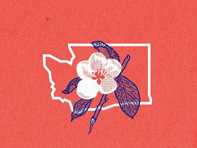 Washington state postcard concept apple blossom sate logo pnw wa washington state