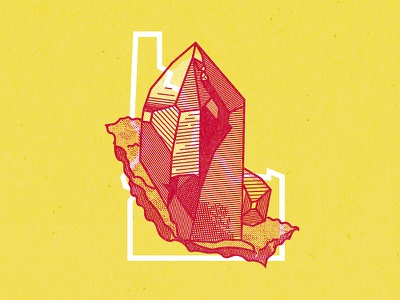 Idaho State illustration line work outline gem crystal gem state idaho