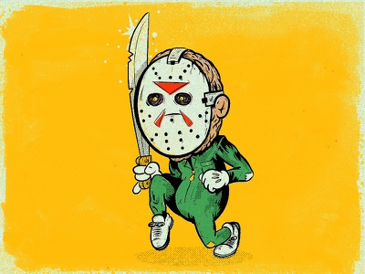 Friday the 13th halftone truegritsupply procreate illustration characer jason fridaythe13th halloween