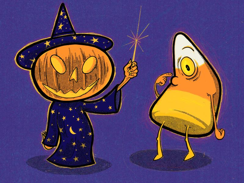 Pumpkin Witch And The Cyclopsacorn magic wizard jack olantern pumpkin witch candycorn halloween