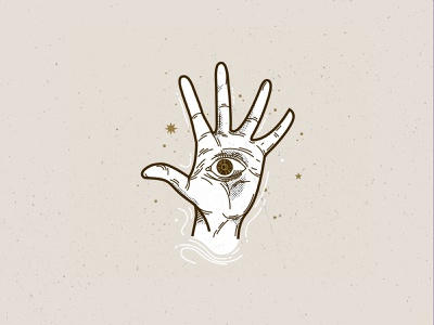 All Seeing Eye palmreading palm icon art illustration line hamsa hand hand all seeing eye