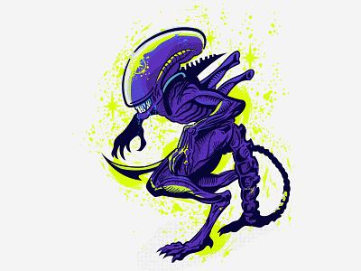 Xenomorph monster star space line line art haftone alien aliens xenomorph