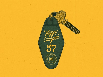 Happy Camper canned ham 57 happy camper instgram 1957 lettering typography vintage camper happy key tag