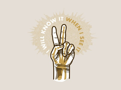 I will know it when I see it line art simple halftone seattle modren logo icon clean line illustration flat design humor