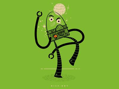 DICE BOY dance party party disco monster mash monster halftone illustration line dance halloween dice boy robot