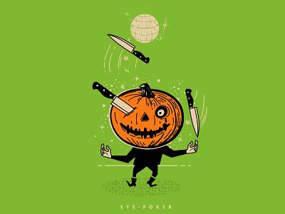 EYE POKER line vector halloween halftone illustration dance party dance knife jackolantern pumkin