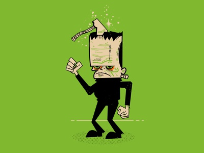 Block Head dance chop ax frankenstein block head halftone halloween illustration
