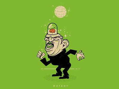 MUTANT draw character monster mash monsters dance party dance halftone halloween vector illustration mutant