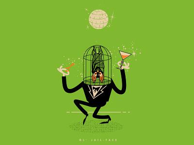 OL'  JAIL FACE character design monsters monster halloween fancy suit cocktail bat face jail dance party party dance