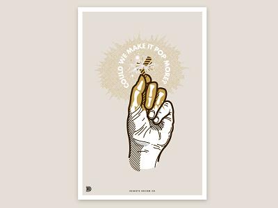 Could we make it pop more  Poster design humor make it pop pop hand firecracker print halftone clean poster illustration
