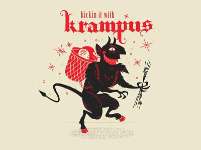 Kickin it with Krampus naughty bad kids sticks horror christmas halftone illustration krampus