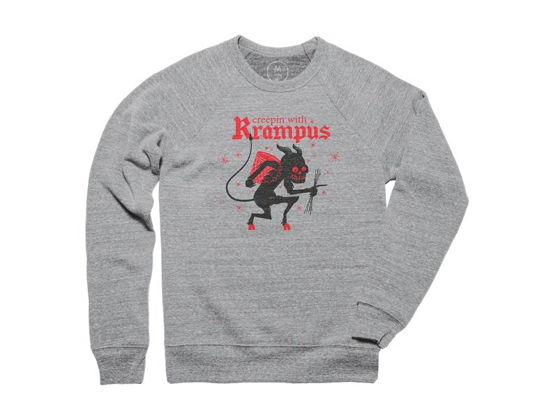 Creepin with Krampus Pullover Crewneck halftone line design modren flat clean illustration