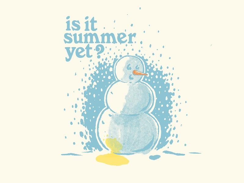 is it summer yet? whoops blizzard cold procreate freehand sketch draw carrot halftone snow piss pee snowman