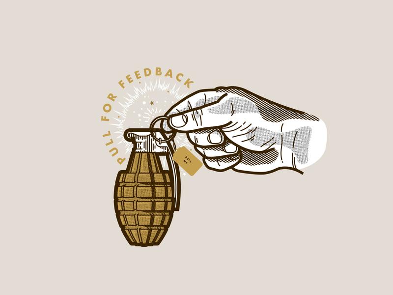 Pull for Feedback exploration invites hand drawn hand tag explosion pull grenade line work feedback illustration