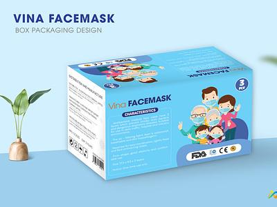 Vina Facemask: Vina Facemask box packaging design box packaging design illustration