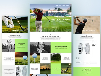 Golf Glove Website Proposal golf web design layout clean flat