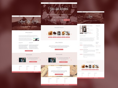 Website Design – Romantic Food Delivery Company e-commerce white pink pale brown