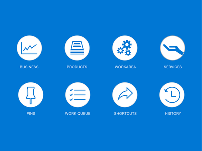 Icons for Website Menu line circle white clean gray design application apps flat blue icons