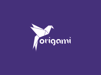 Logo flat white bird origami purple logo