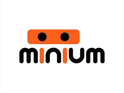 Minium Logo portfolio eyes mascot flat white orange black gray minium logo