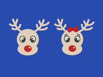 Rudolph and Rudolphina deer deers rudolph kids christmas ilustration