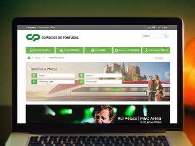 Comboios de Portugal - Desktop version portfolio white gray green desktop responsive website web company train comboios portugal cp