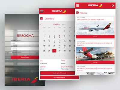 Webapp for Iberia Intranet (proposal) portfolio gray white red iphone web mobile app iberia