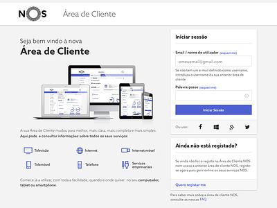 Cliente NOS portfolio material ui ux area client nos cliente gray white black blue