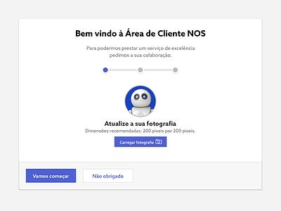 Cliente NOS welcome white gray blue clientenos ui ux steps userguide intro